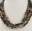 multi strand 5-6mm indian agate chips beaded necklace with jade clasp