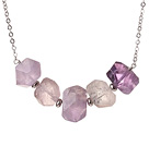 Wholesale Cool Simple Style Irregular Shape Amethyst Necklace with Alloyed Chain