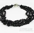 Wholesale multi strand 5-6mm blackstone beaded necklace with jade clasp