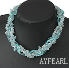 Elegant Aquamarine Chips And Large Blue Oval Crystal Twisted Strands Necklace With Moonight Clasp
