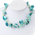 Lovely Aquamarine Blue Blister Pearl And Shell Crystal Golden Wired Necklace With Moonight Clasp