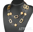 Wholesale fashion long style party jewelry brown shell necklace with big matel loops