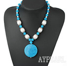 Fashion White Round Porcelain And Round Cyanite Pendant Necklace With S Clasp Extendable Chain
