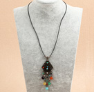 Simple Retro Style Multi Color Agate Beads Tassel Pendant Necklace With Black Leather