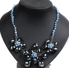 Gorgeous Party Style Natural Bllue Freshwater Pearl Brown Crystal Flower Bib Necklace