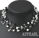 Multi Strand White And Black Pearl Chipped Stone And Crystal Strings Necklace