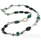 Wholesale Fashion Long Style Black Rectangle Agate And Phoenix Stone Multi Metal Charm Strand Necklace