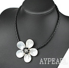 Discount White Shell Flower Necklace with Black Imitation Leather Cord