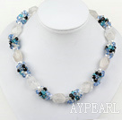 Fashion Multi Bright Color Crystal And Rock Strand Necklace With Magnetic Clasp