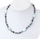 Fashion Blue Coin And Colorful Pearl Crystal Beaded Strand Necklace