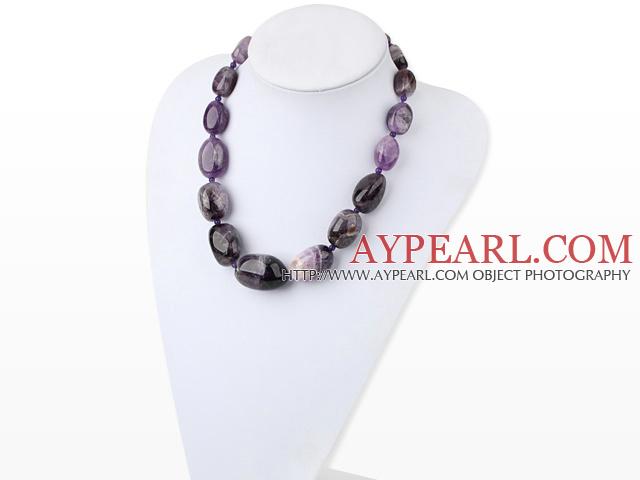 Chunky Style Big Irregular Amethyst Graduated necklace