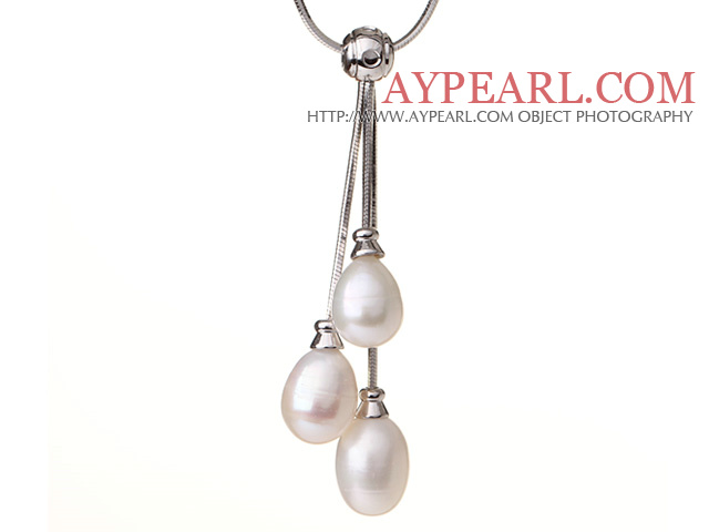 Natural 10-11mm White Freshwater Pearl Pendant Necklace with Metal Chain