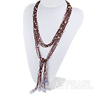 Wholesale Purple Crystal and Pearl Knot Tassel Necklace