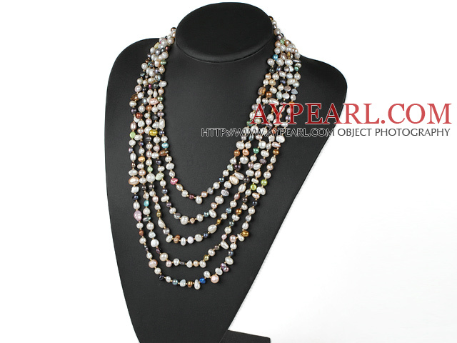Fashion 5 Strands Multi Color Mixed Freshwater Pearls Necklace With Extendable Chain