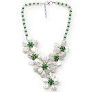 Wholesale White and Green Series Opal Crystal and White Lip Shell Flower Party Necklace