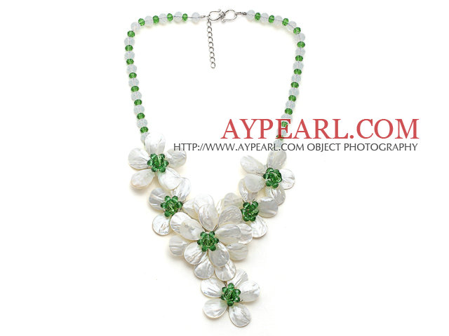 White and Green Series Opal Crystal and White Lip Shell Flower Party Necklace