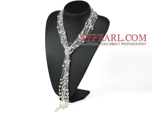 Multi Strand White Freshwater Pearl and Glass Beads Knot Tassel Necklace