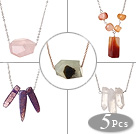 5 pcs Simple Design Agate and Crystal Pendant Necklace with Alloyed Thin Chain (random shape for stones)