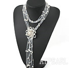White Freshwater Pearl Knot Tassel Necklace