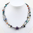 Nice Multi Color Freshwater Pearl And Multi Stone Beaded Necklace