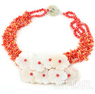 Multi Strand Red Round And Orange Teeth Shape Coral And White Shell Flower Necklace With Donut Jade Clasp