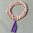 Discount Multi Strands 11-12mm Gray and Violet Freshwater Pearl Leather Necklace with Magnetic Clasp and Black Leather