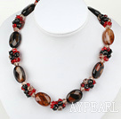 Wonderful Multi Color Clsuter Crystal And Agate Strand Necklace With Big Magnetic Clasp