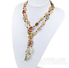 pearl three-colored jade necklace