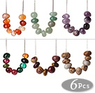 6 pcs Lovely Style Abacus Shape Natural Semi-precious Stone and Crystal Necklace with Extandable Chain