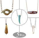 5 pcs Simple Design Agate and Crystal Pendant Necklace with Alloyed Thin Chain