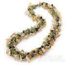 Wholesale 47 inches smoky quartz and burst pattern turquoise necklace with moonlight clasp