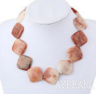30*30Mm Natural Large Chunky Style Rhombus Balas Stone Necklace