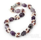 Fashion Freshwater Pearl Wine Red Crystal And Thick Amethyst Stone Necklace With Magnetic Clasp