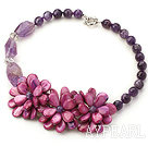 Wholesale New Design Amethyst and Purple Shell Flower Necklace