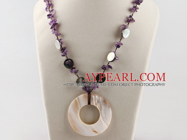 vogue jewelry Y shape amethyst and shell necklace