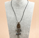 Wholesale Biwa pearl and smoky quartz neckace with toggle clasp