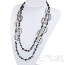 Wholesale fashion long style black pearl and smoky quartze necklace