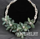 Natural White Freshwater Pearl and Jade Flower Party Necklace