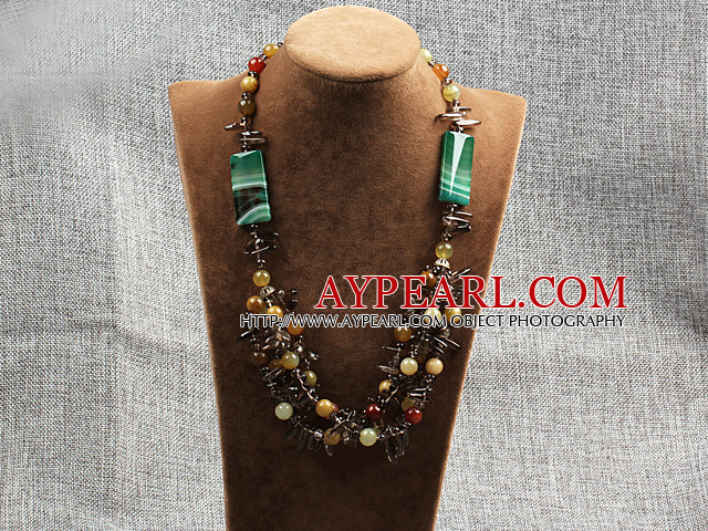 hot three color jade agate and smoky quartze necklace