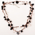 Long Style Clear Crystal and Black Agate Hand Knotted Necklace