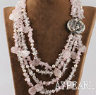 Wholesale multi strand white pearl and rose quartze necklace with abalone clasp