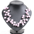 Trendy Style Multi Strand Light Pink Seashell Beads Twisted Necklace With Bending Alloyed Tube