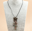 Simple Retro Style Garnet Indian Agate Tassel Pendant Necklace With Black Leather & Butterfly Accessory