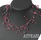 Wholesale fancy bridal jewelry purple red  pearl necklace