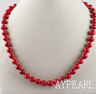 17.7inches 8mm red coral beaded necklace