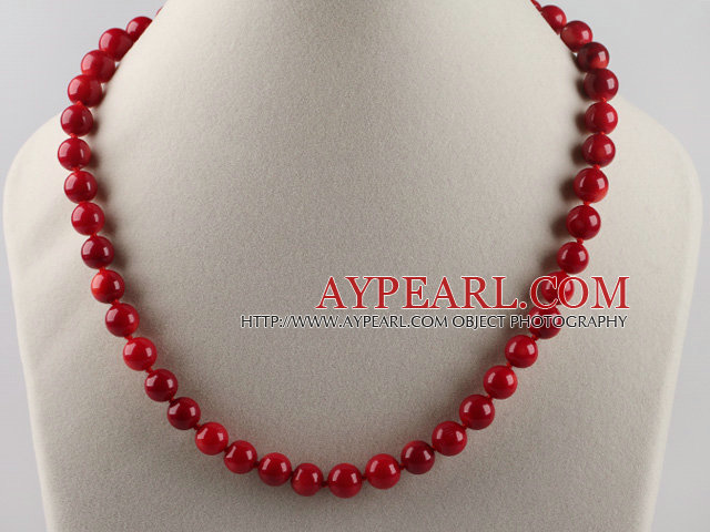 Beautiful 10Mm Round Red Coral Beaded Necklace With Flower Clasp