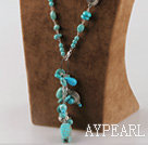 Fashion Cluster Multi Blue Turquoise And Charms Beaded Pendant Necklace