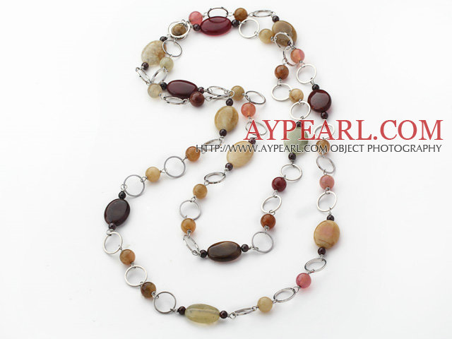 popular long style garnet and three color jade necklace
