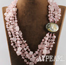 multi strand rose quartze necklace with gem clasp