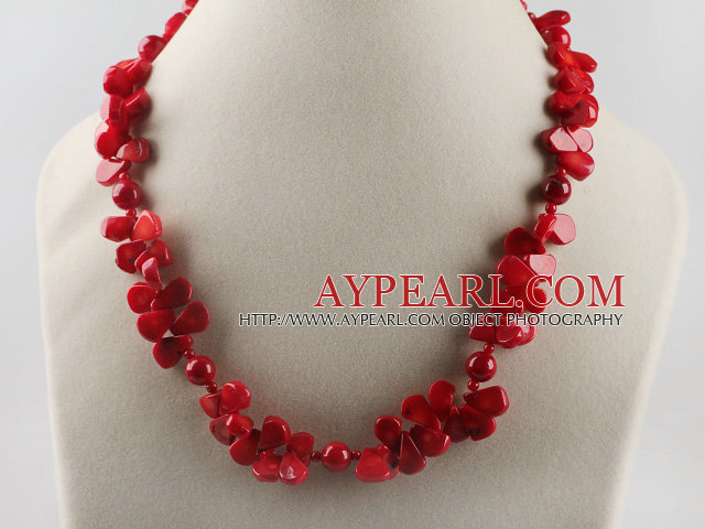 drop shape red coral necklace with toggle clasp